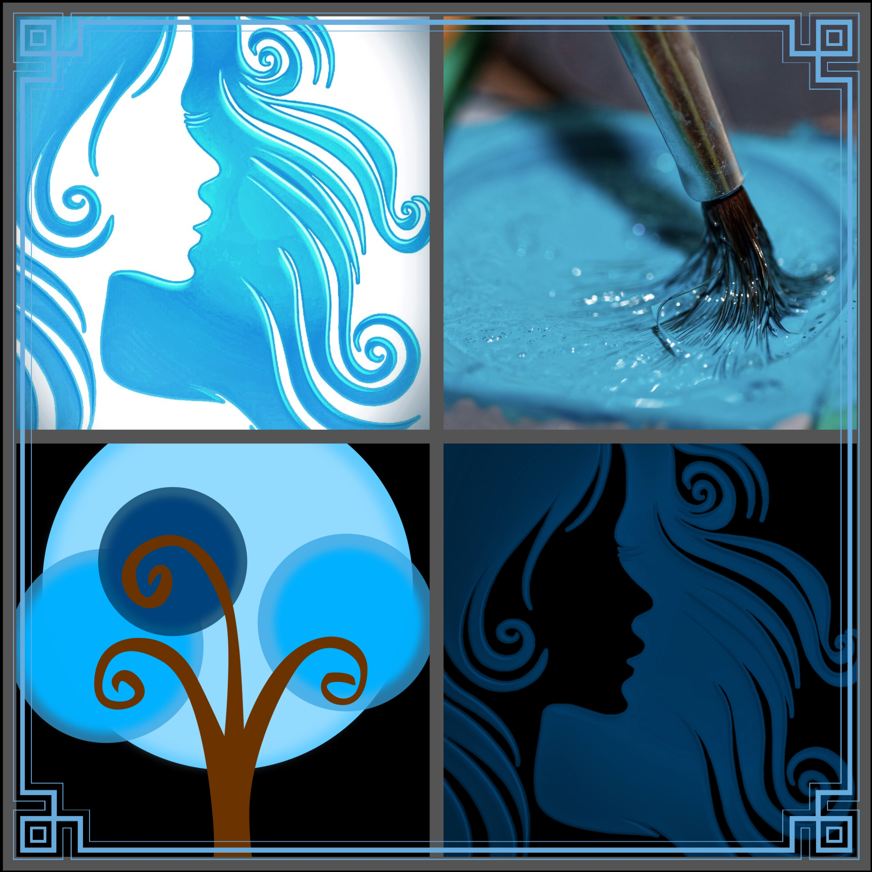 pixabay collage blue hair