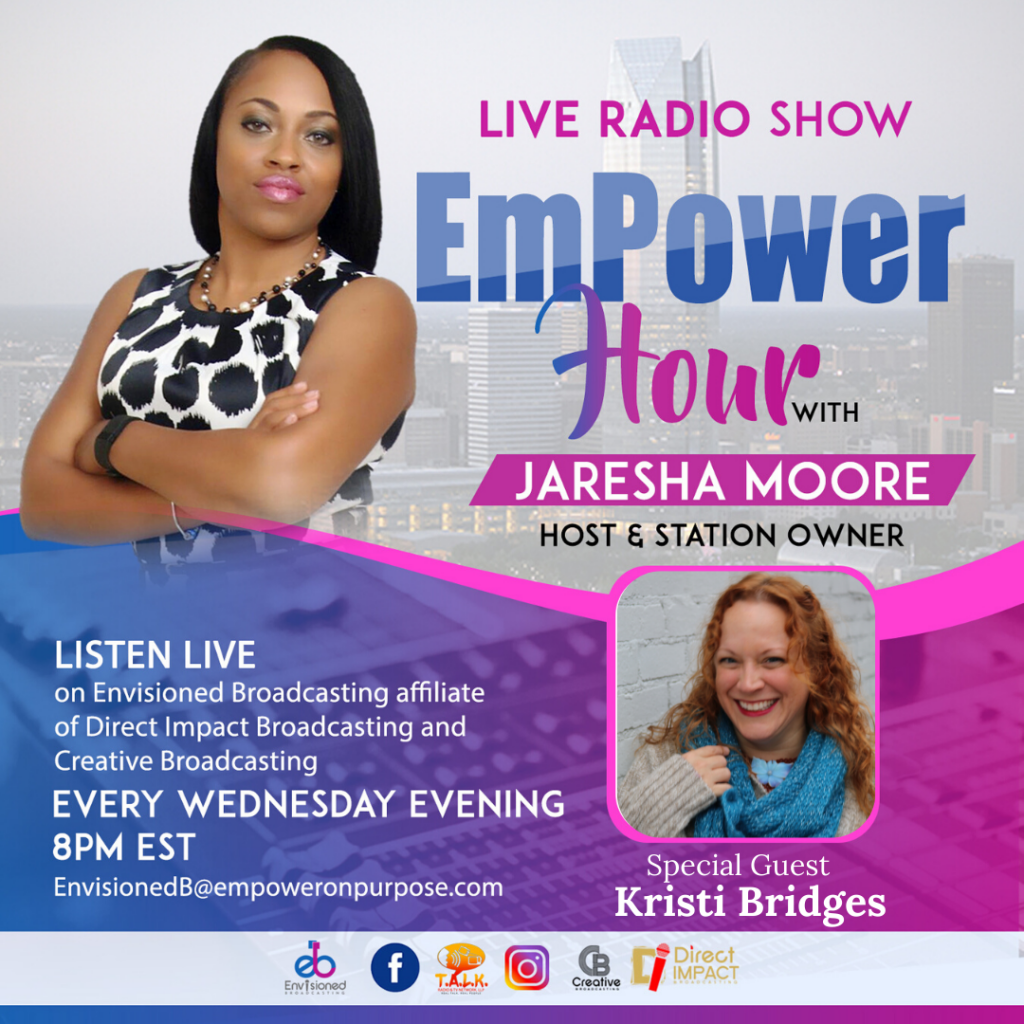 Photo of Jaresha Moore of Empower Hour live radio show with guest Kristi Bridges
